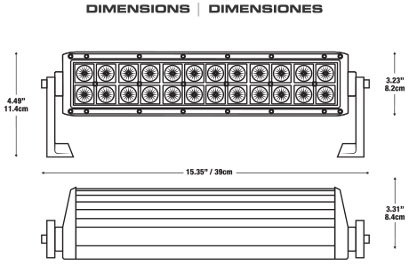 LEDBar 15 Dimensions - 15 inch LED bar